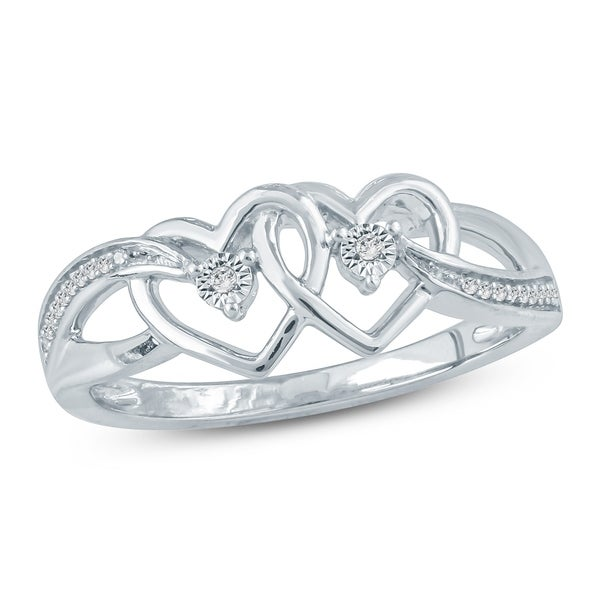 Cali Trove 1/20 Ct Round Diamond Accent With Miracle Plate Double Heart Fashion Ring In Sterling Silver. - White