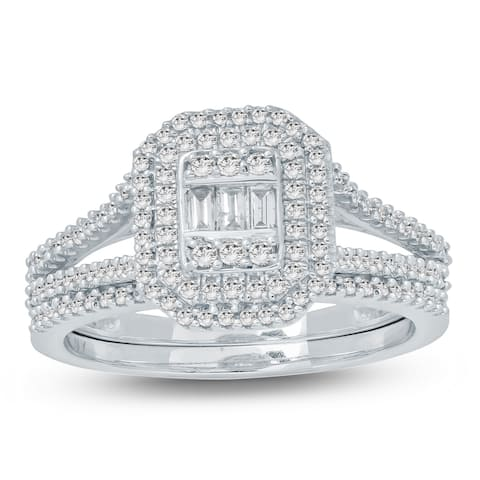 Cali Trove 5/8 Ct Round & Baguette Diamond Cluster Engagement Wedding Set In 10Kt White Gold.