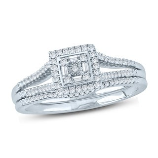 Cali Trove 1/5 Ct Round & Baguette Diamond Cluster Engagement Wedding Set In Sterling Silver. - White