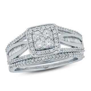 Cali Trove 3/4 Ct Round & Baguette Diamond Cluster Engagement Wedding Set In 10Kt White Gold.