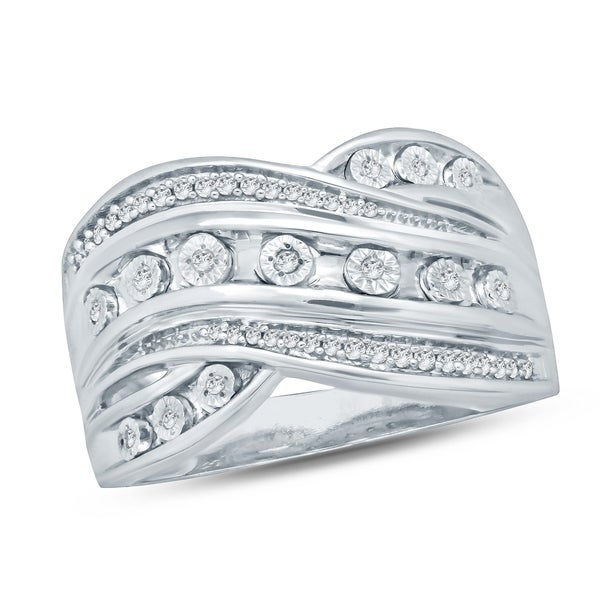 Cali Trove 1/6 Ct Round Diamond Miracle Plate Fashion Ring In Sterling Silver. - White