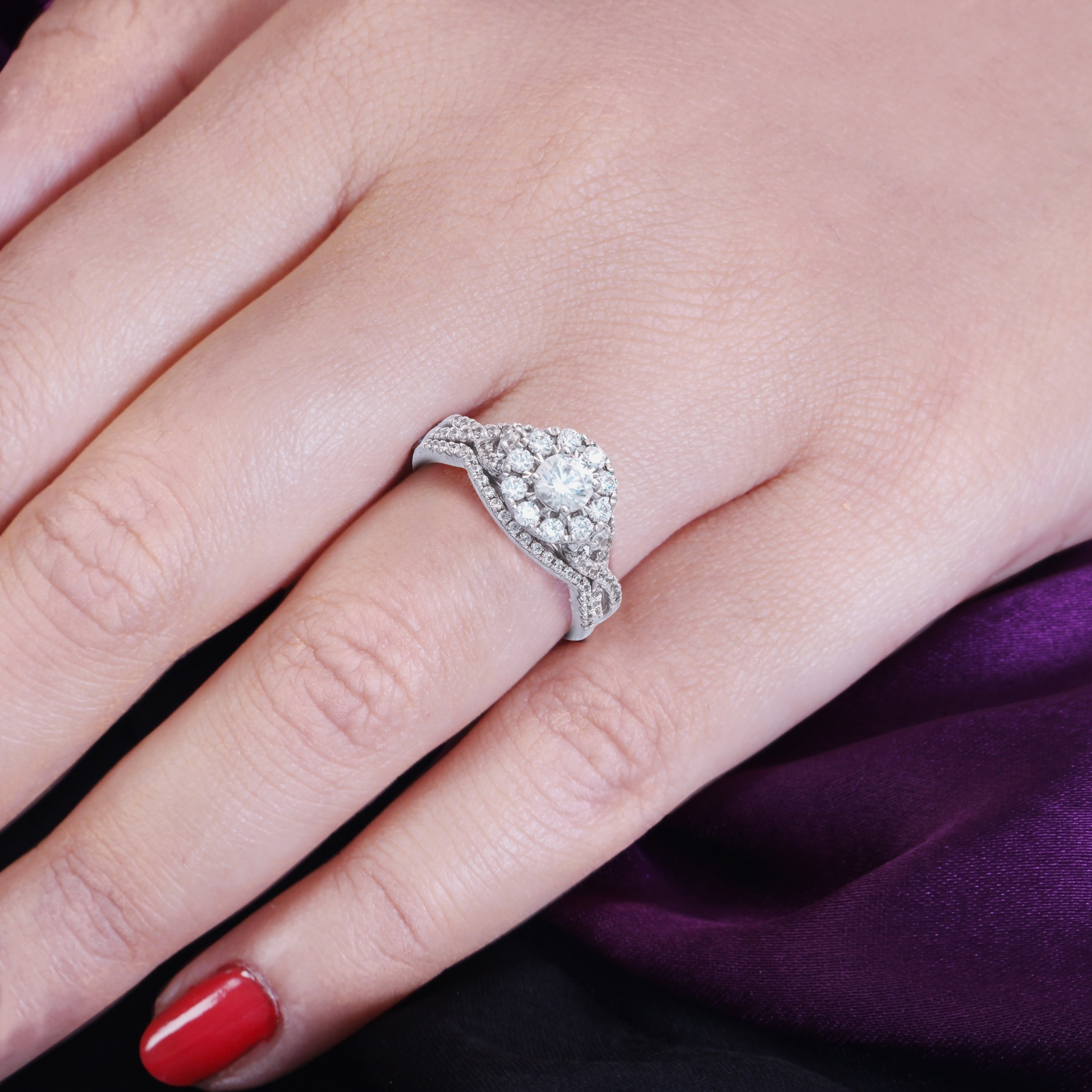 4697f96a943be Cali Trove 1 Ct Round Diamond Cluster Engagement Wedding Set In 10Kt White  Gold.