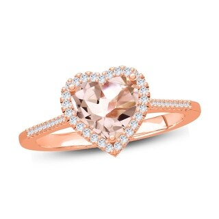 1 Ct Round & 7mm Heart Morganite Diamond Solitaire Fashion Ring In Pink Plated Sterling Silver. - White