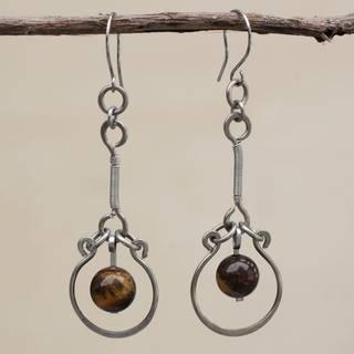 Handmade Stainless Steel 'Balanced Nature' Tiger's Eye Earrings (Brazil)