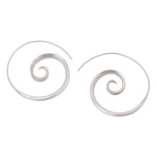 Handmade Sterling Silver 'Inspiring Spirals' Earrings (Indonesia)