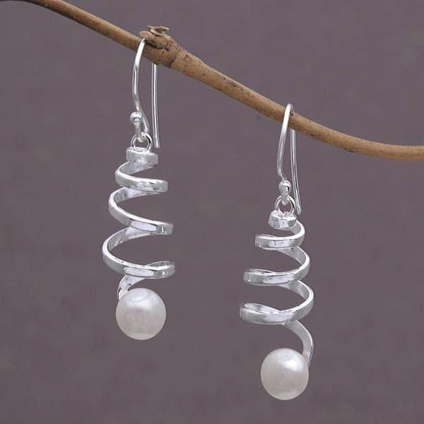 Handmade Sterling Silver 'Moonlight Springs' Cultured Pearl Earrings (10 mm) (Indonesia)