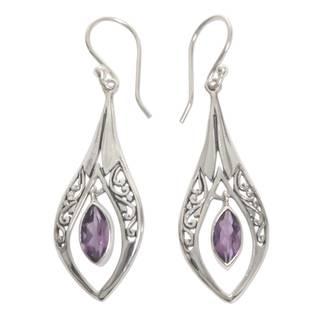 Handmade Sterling Silver 'Purple Teardrops' Amethyst Earrings (Indonesia)