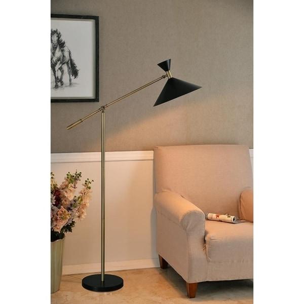 """Design Craft Draper 53"""" Black and Antique Brass Floor Lamp"""