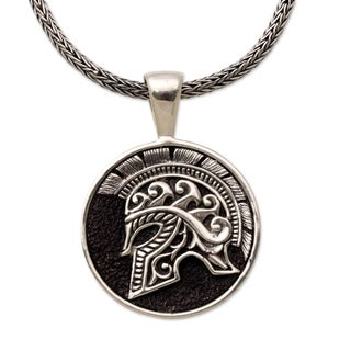 Handmade Men's Sterling Silver 'Hayam Wuruk Helmet' Necklace (Indonesia)
