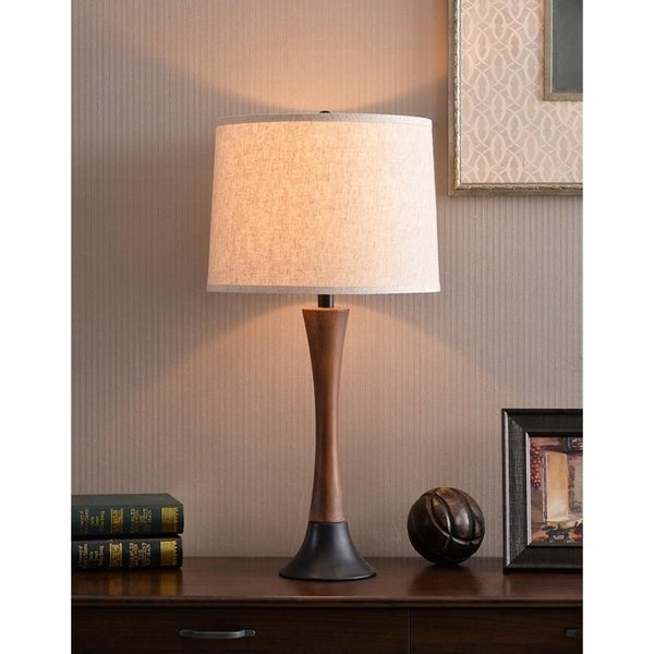 "Delilah 28.12"" Mahogany Wood Grain and Oil Rubbed Bronze Table Lamp"