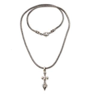 Handmade Men's Sterling Silver 'Sword of Airlangga' Necklace (Indonesia)