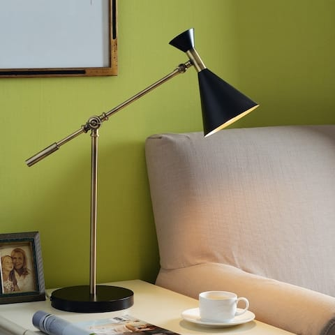 "Draper 20"" Black and Antique Brass Desk Lamp - 20-27"" H"