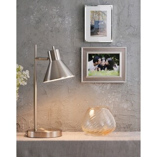 "Design Craft Poplar 18"" Brushed Steel Desk Lamp"