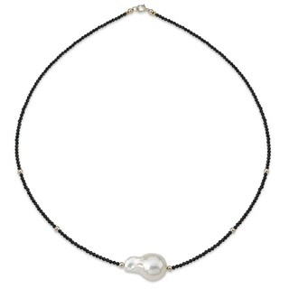 """PearlAura 14k Gold 13-16mm White Baroque Cultured Freshwater Pearl and 2-3mm Faceted Roundel Black Spinel Necklace 18"""""""