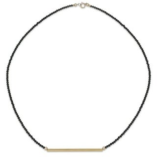 """PearlAura 14 Karat Gold 2-3mm Faceted Roundel Black Spinel and 2"""" Polished Bar Necklace 18"""""""