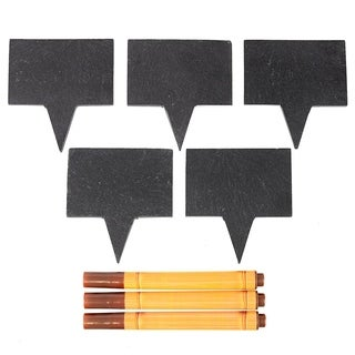 Bambusi Natural Black Slate Cheese Markers Set of 5 w/ 3 Chalk Markers