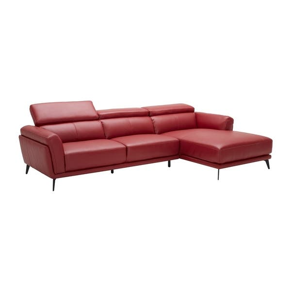 Mid Century Modern Red Leather Upholstered Sectional Sofa