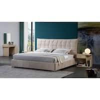 Off White Fabric Upholstered Platform Bed