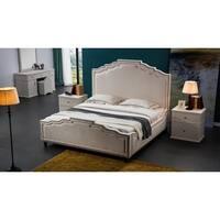 Beige Fabric Upholstered Nailhead Platform Bed