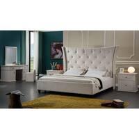 Tufted Beige Upholstered Oversized Headboard Platform Bed