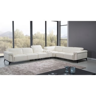 Oversized White Italian Leather Sectional Sofa