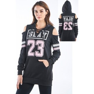 Ladies Cold Shoulder Hooded Sweatshirt by Special One