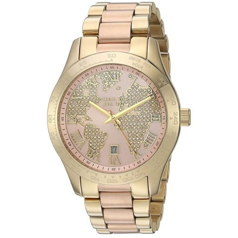 Michael Kors Women's Layton Crystal Map Dial Two-Tone Stainless Steel Bracelet Watch