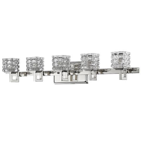 Acclaim Lighting Coralie Indoor 5-Light Bath With Crystal Glass Shades In Polished Nickel - Polished Nickel - Polished Nickel