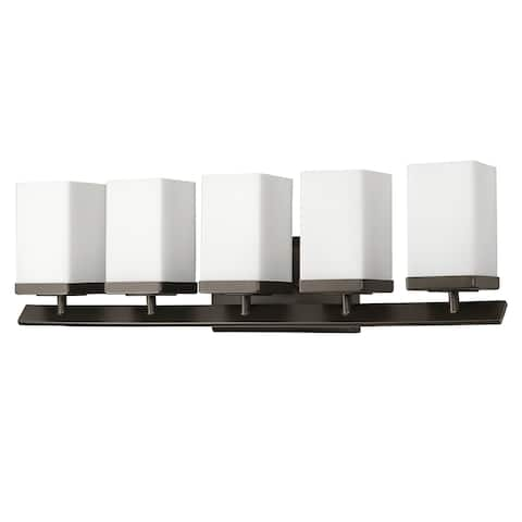 Burgundy 5-Light Bath with Glass Shades in Oil Rubbed Bronze