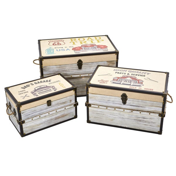 Classic Car Collection Trunk and Storage Boxes (Set of 3) -  Nearly Natural, 7033-S3