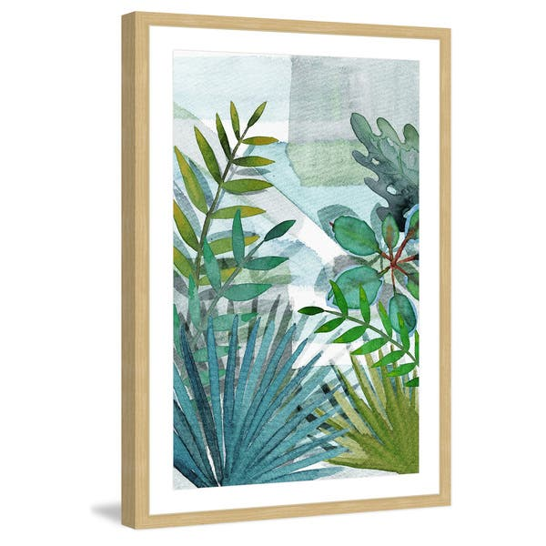 Marmont Hill Handmade Tropical Leaves Framed Print Overstock 19627777 Tropical leaves and flowers in the night style for men's prints. marmont hill