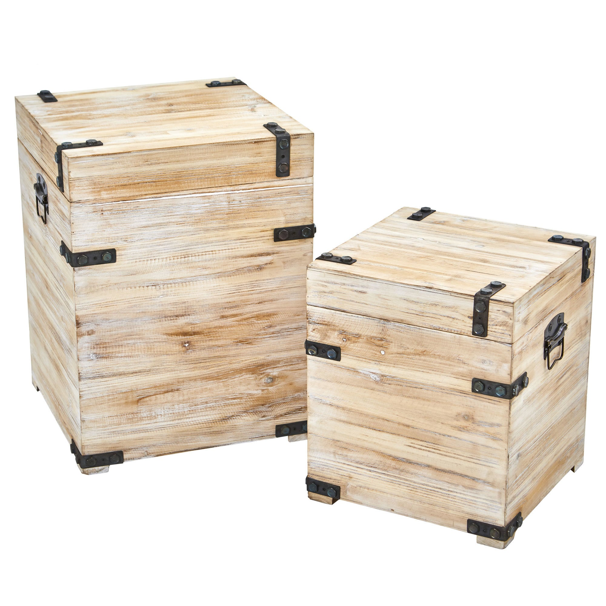Picture of: Shop Black Friday Deals On Decorative White Wash Storage Boxes Trunks With Metal Detail Set Of 2 On Sale Overstock 19627791