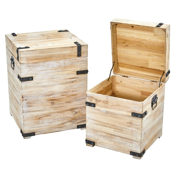 Decorative White Wash Storage Boxes-Trunks with Metal Detail (Set of 2). Opens flyout.