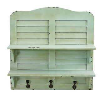 "20"" Vintage Window Shutter Shelving with Hooks Wall Decor"