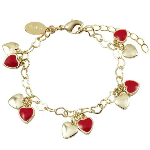 Luxiro Gold Finish Red Enamel Girl's Dangling Heart Bracelet