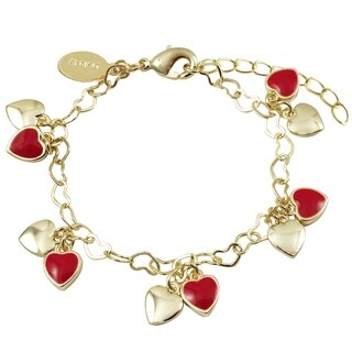 Luxiro Gold Finish Red Enamel Girl's Dangling Heart Bracelet