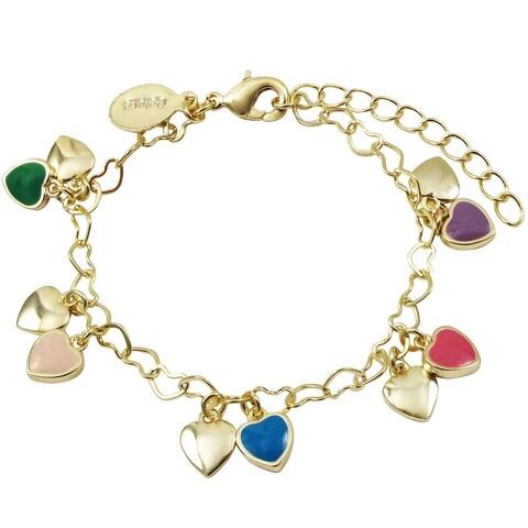 Luxiro Gold Finish Multi-color Enamel Girl's Dangling Heart Bracelet