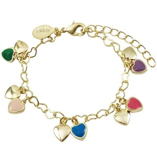 Luxiro Gold Finish Multi-color Enamel Girl's Dangling Heart Bracelet