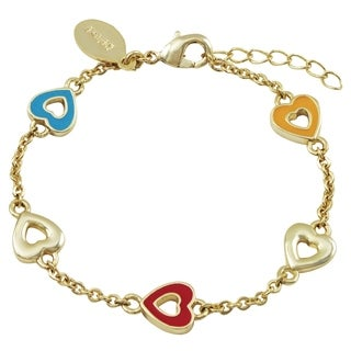 Luxiro Gold Finish Multi-color Enamel Children's Heart Bracelet
