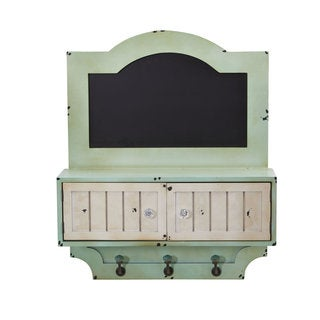 """21.5"""" Vintage Chalkboard Wall Organizer With Doors and Hooks"""