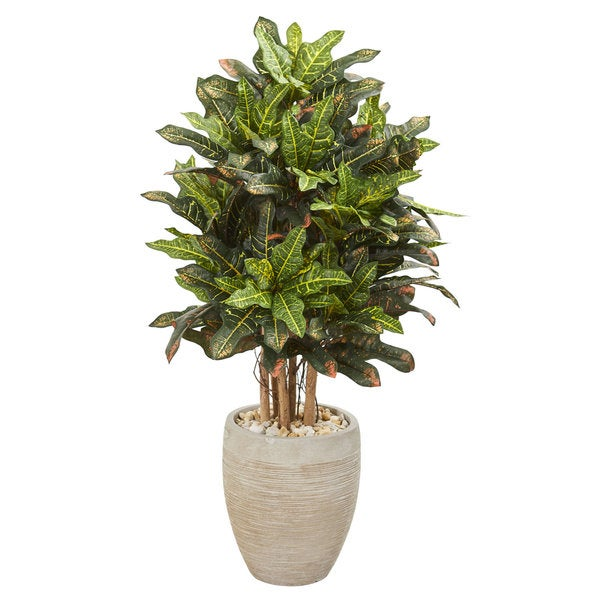 3.5' Croton Artificial Plant in Sand Colored Planter