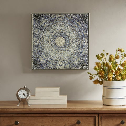 Harbor House Mosaic Mandala Circa Blue/ White Crushed Glass