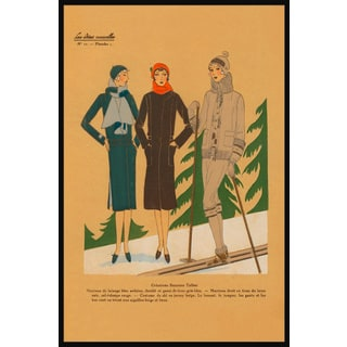 Marmont Hill - Handmade Ladies Skiing Floater Framed Print on Canvas