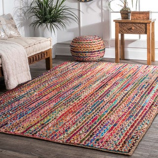 nuLOOM Casual Handmade Braided Cotton Jute Multi Runner Rug - 2'6 x 8'
