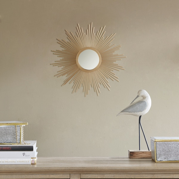 "Madison Park Fiore Gold Sunburst Mirror - Small - Dia 14.5"" x 0.98""D. Opens flyout."