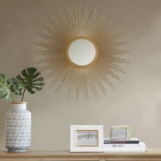 """Madison Park Fiore Gold Sunburst Mirror - Large - Dia 29.5"""" x 0.98""""D"""