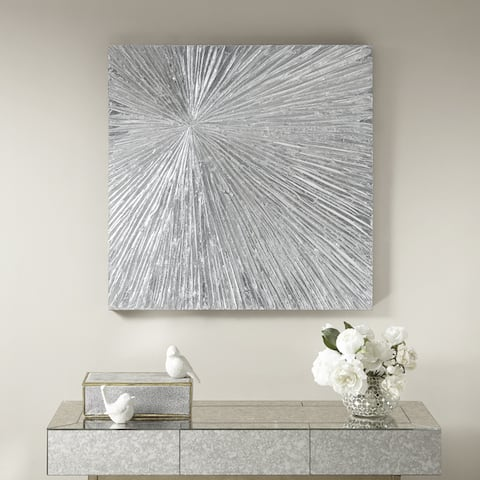 Madison Park Signature Sunburst Silver Resin Dimensional Palm Box