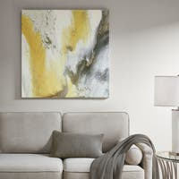 Madison Park Blissful Yellow Multi Gel Coat Canvas with Sliver Foil Embellishment - Multi-color