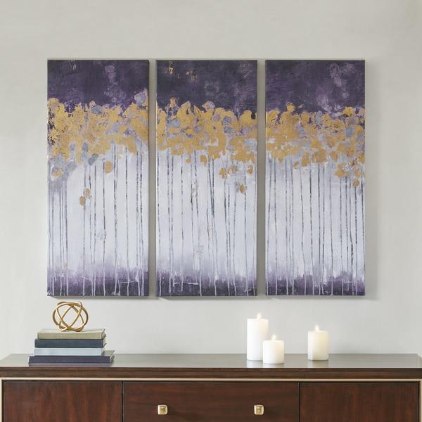 Madison Park Midnight Forest Violet Multi Gel Coat Canvas with Gold Foil Embellishment 3-piece Set