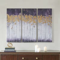 Madison Park Midnight Forest Violet Multi Gel Coat Canvas with Gold Foil Embellishment 3-piece Set